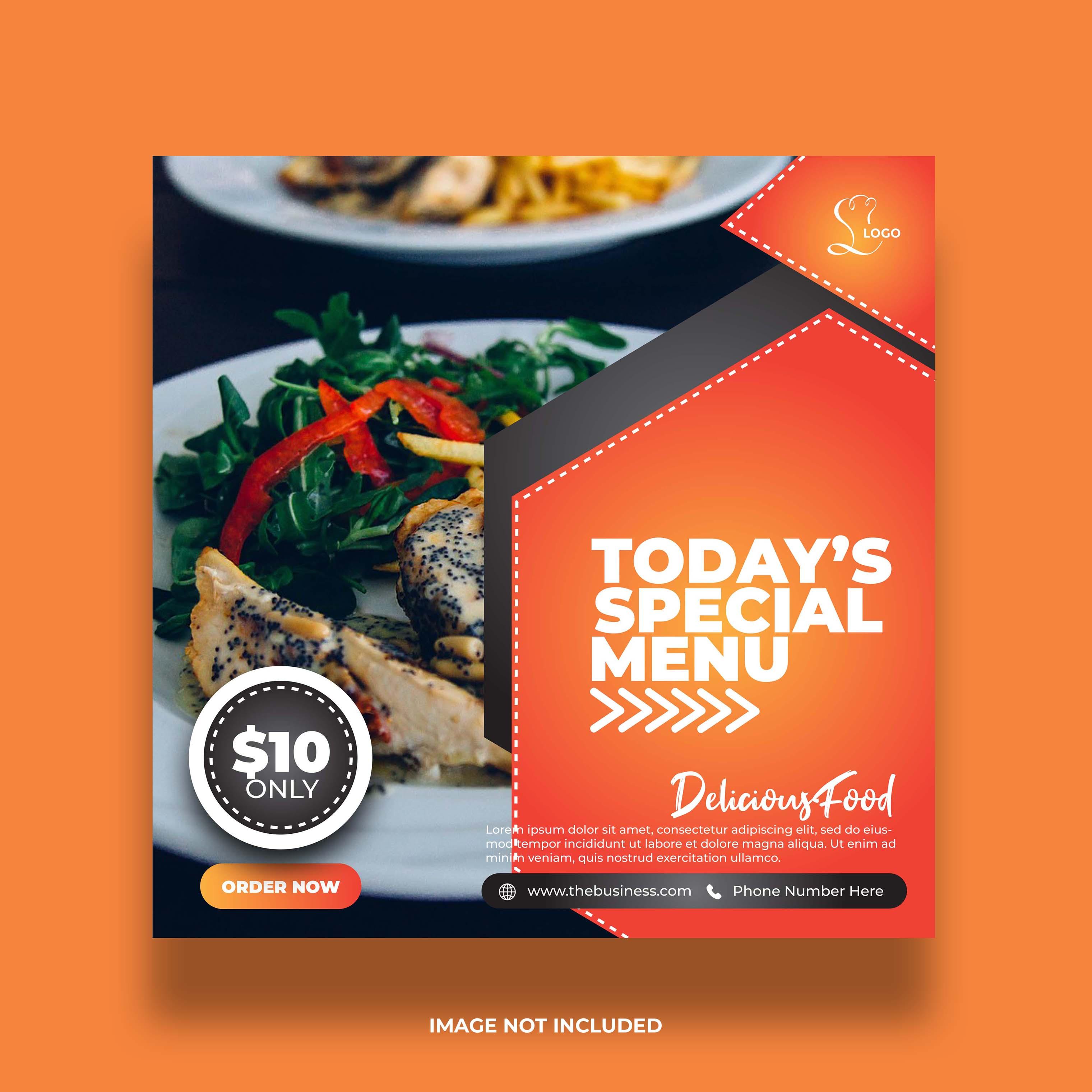 banner de redes sociales de comida colorida mínima creativa