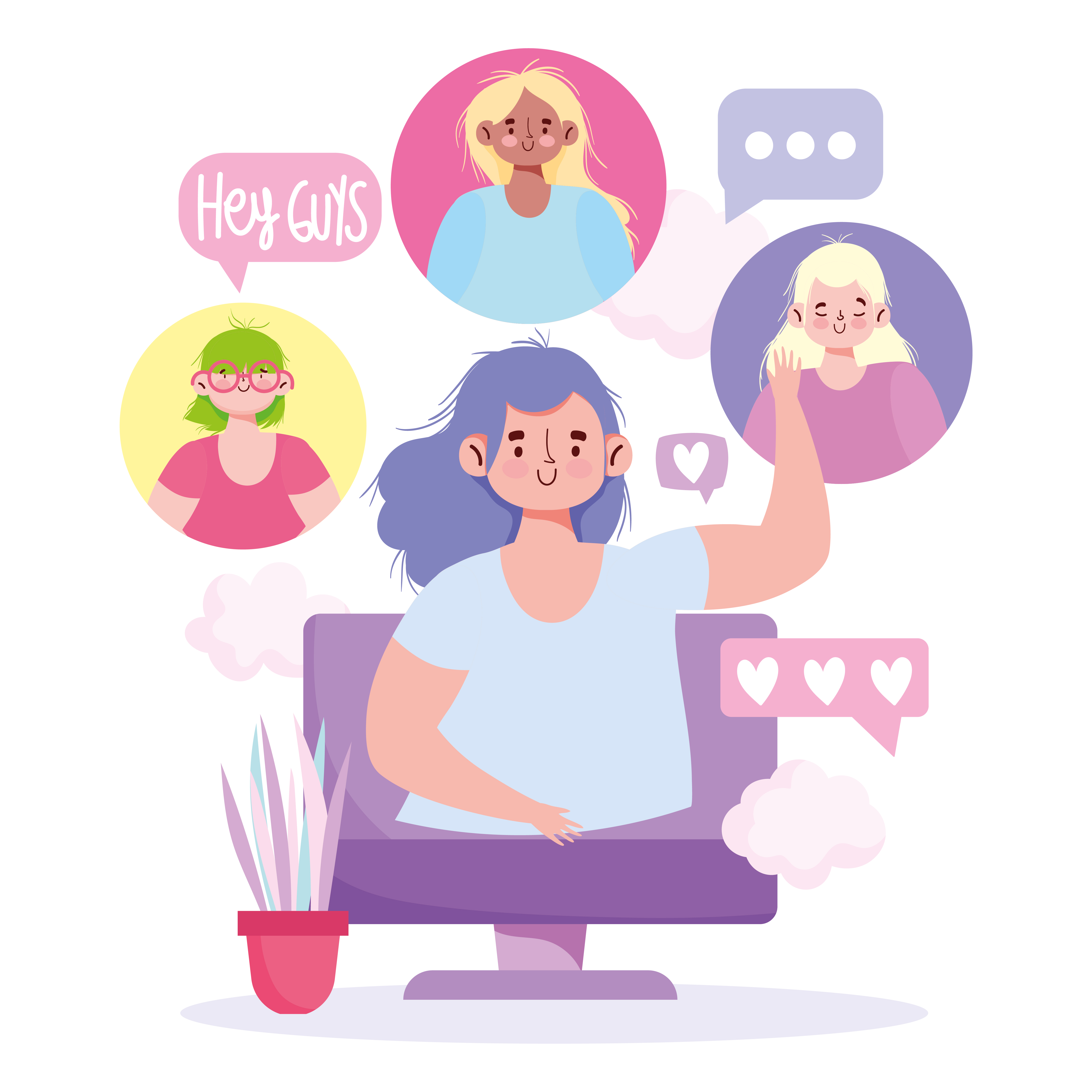 Group of young women communicating via digital meeting vector