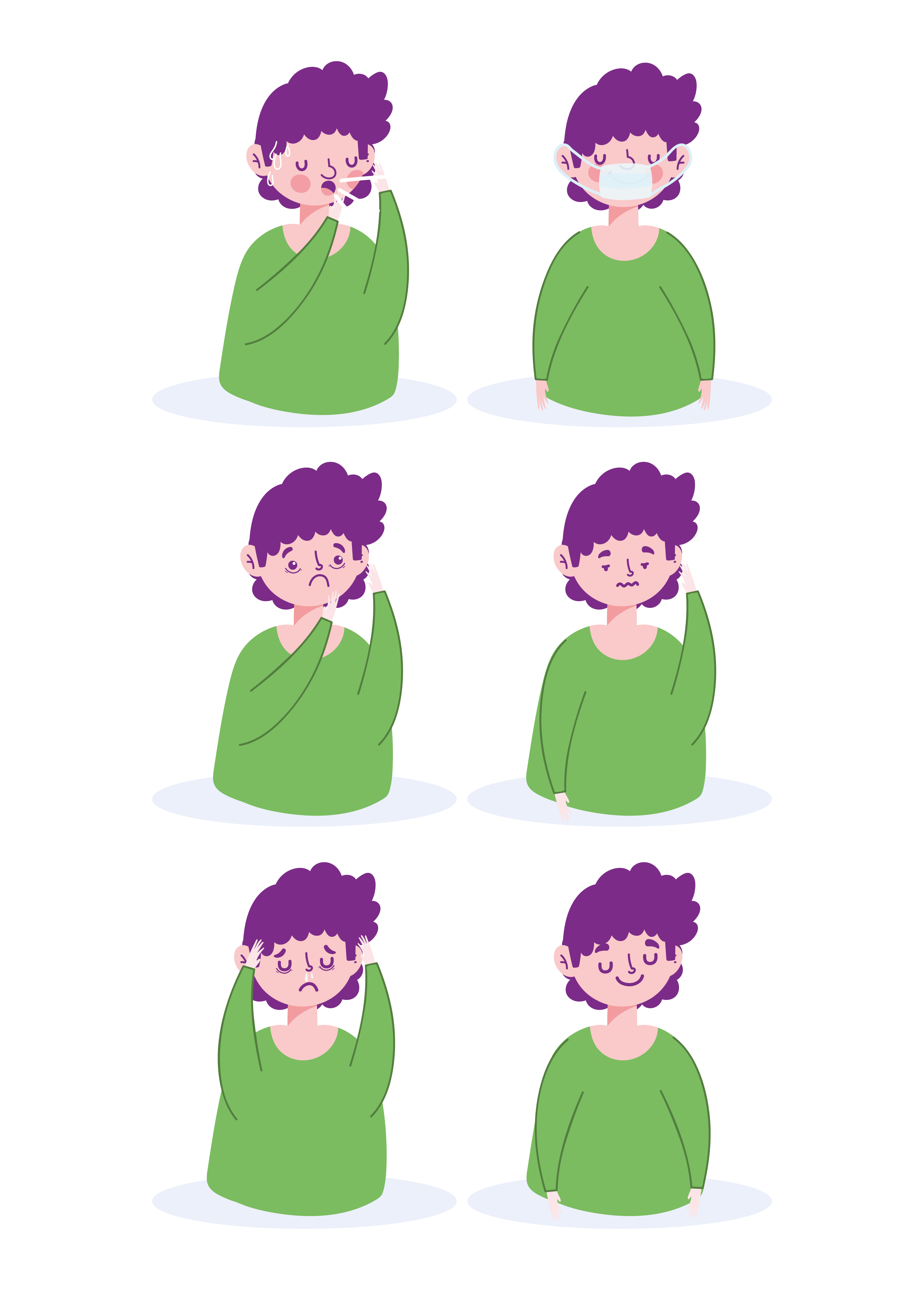 Patient with viral symptoms icon set vector