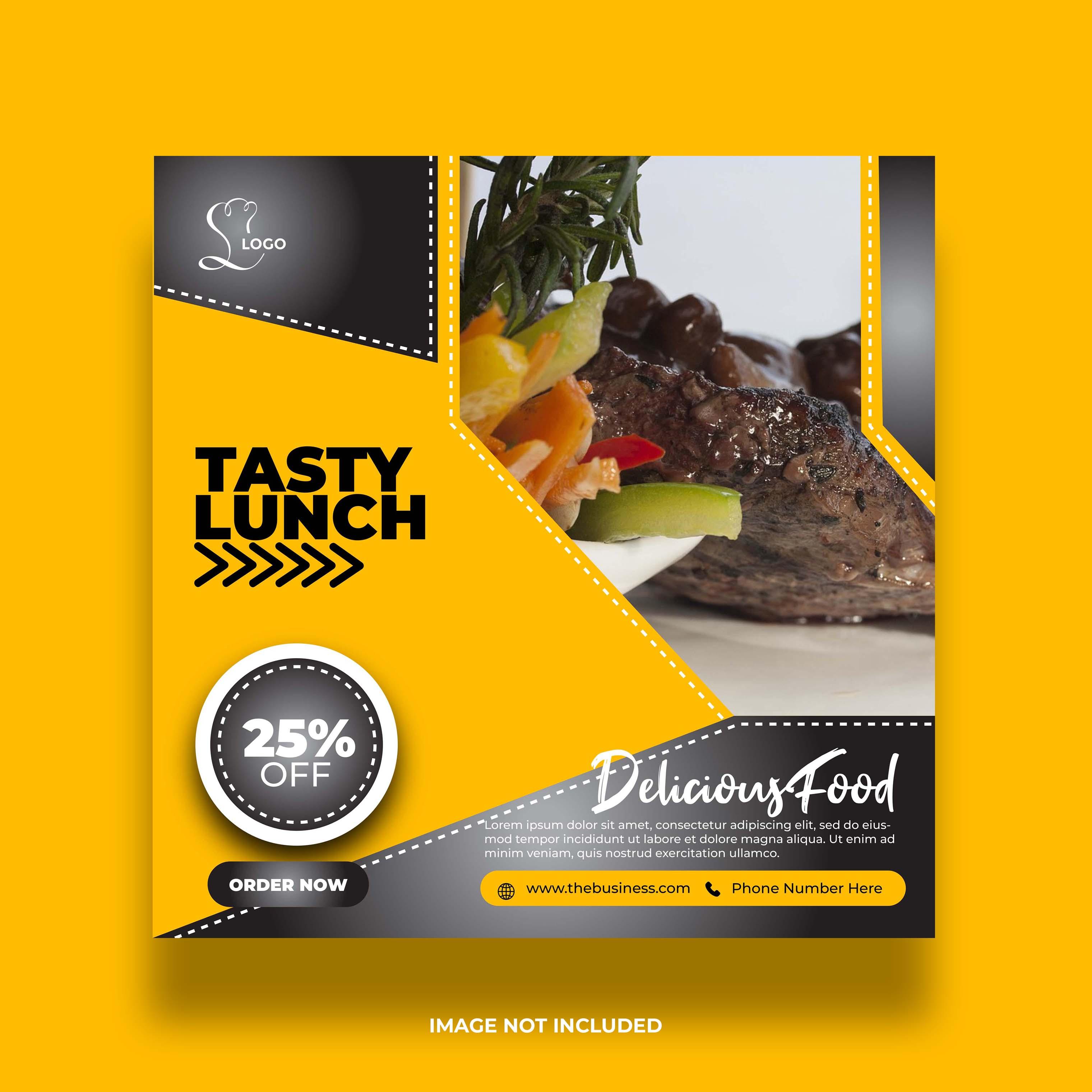 banner amarelo de comida de restaurante para redes sociais