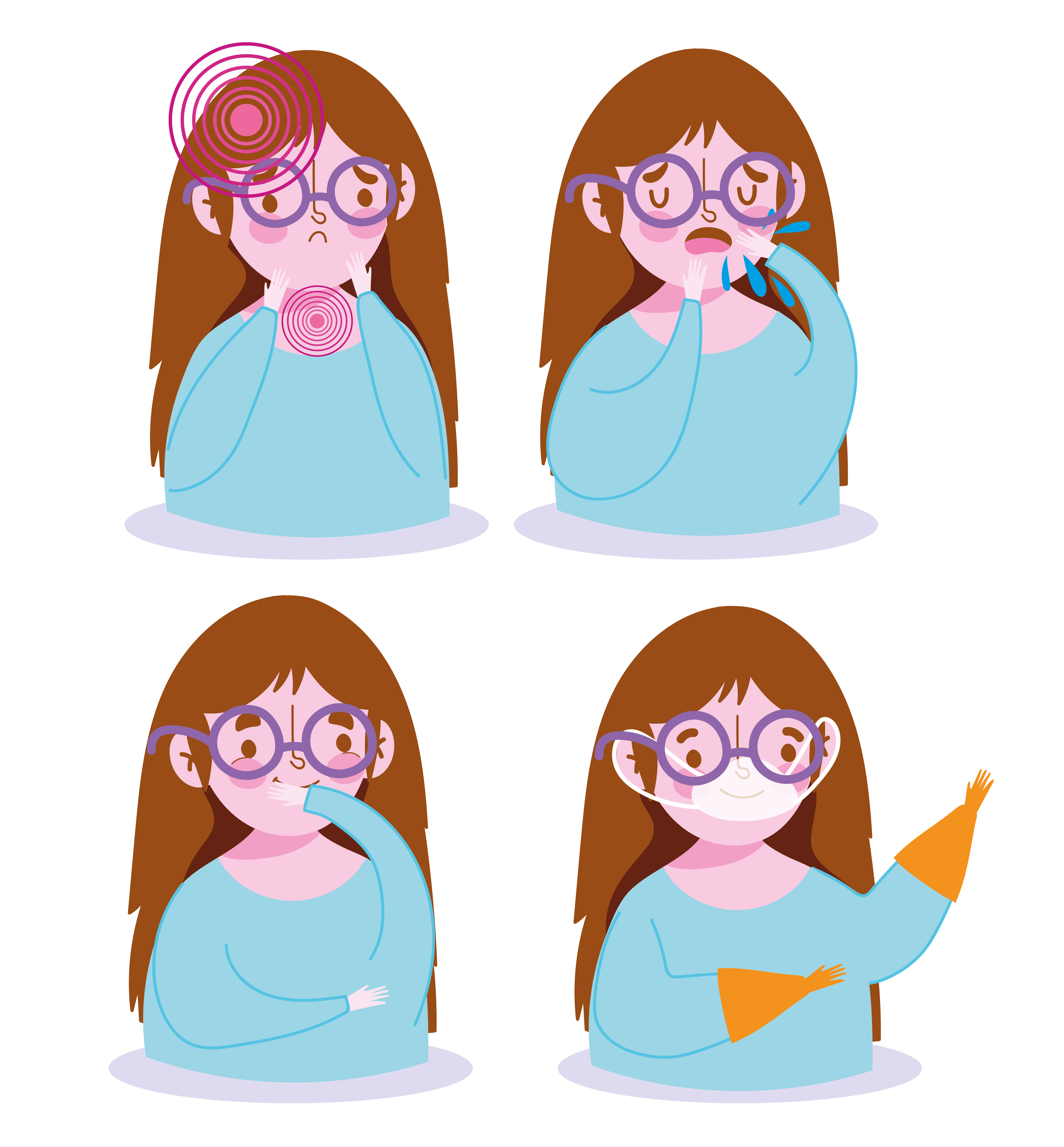 Girl with disease symptoms and prevention icon set