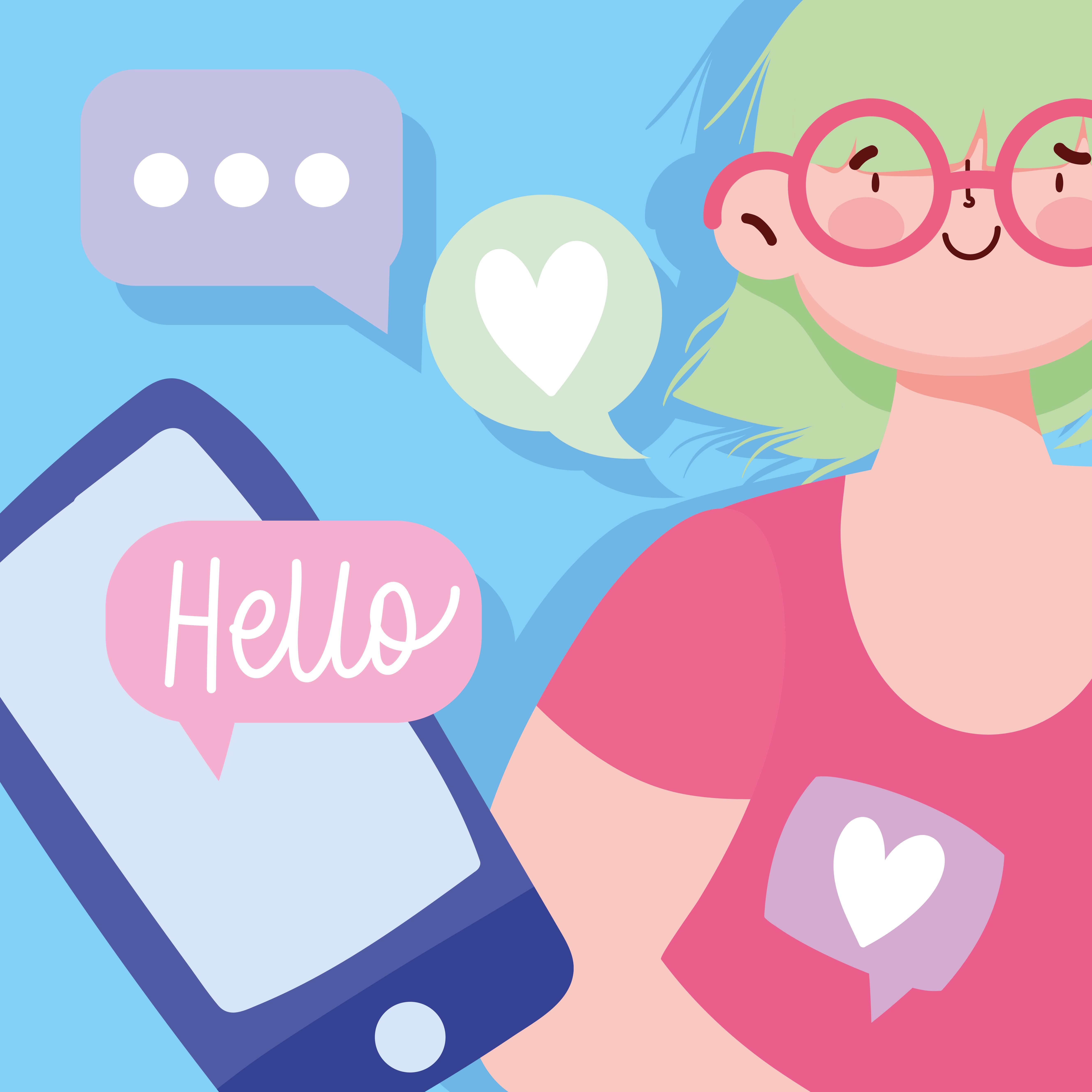 jovem com um bate-papo sms no smartphone vetor