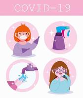 Covid-19 infographic with people and prevention information vector