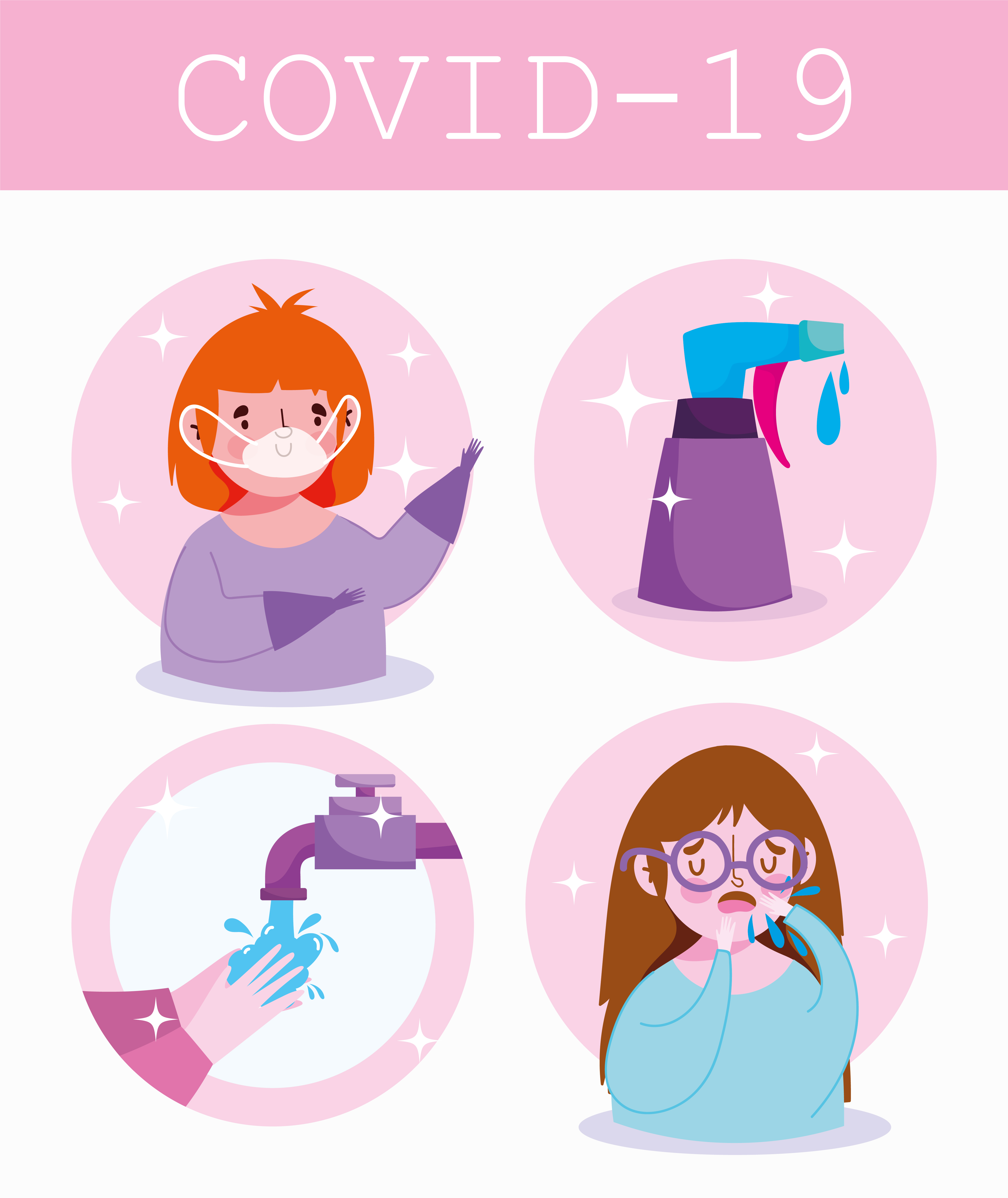 Covid-19 infographic with people and prevention information