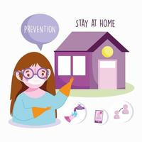 Girl wearing a face mask giving prevention tips vector
