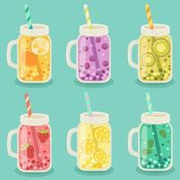 Set of mason jars with fruits on blue vector