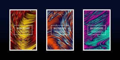 Set of multicolored textured line waves designs vector