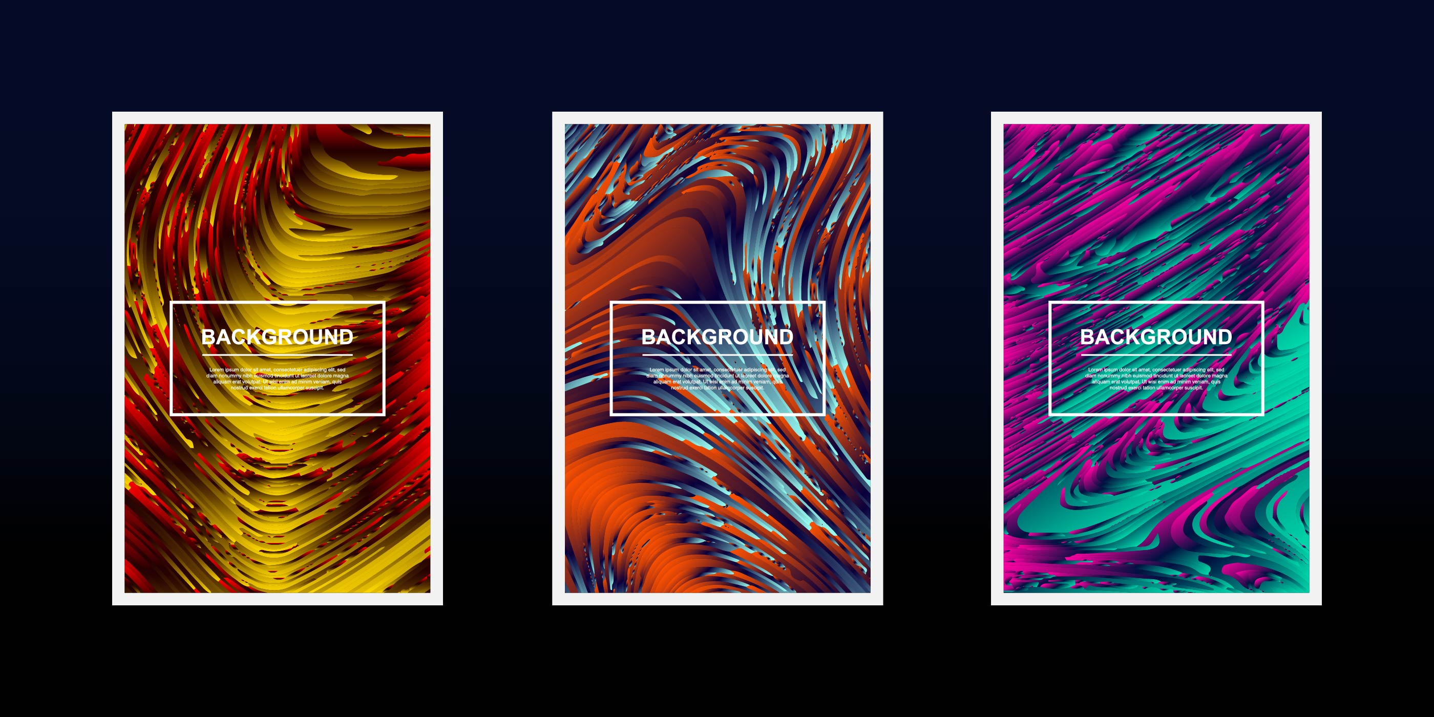 conjunto de desenhos de ondas de linhas texturizadas multicoloridas