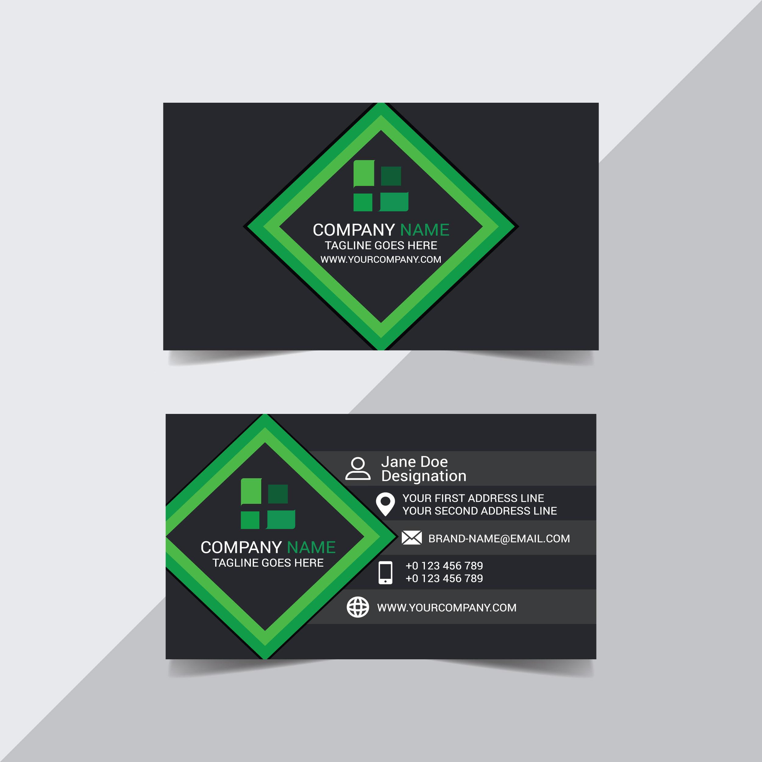 Visitenkartenschablone des schwarzen und grünen Diamanten