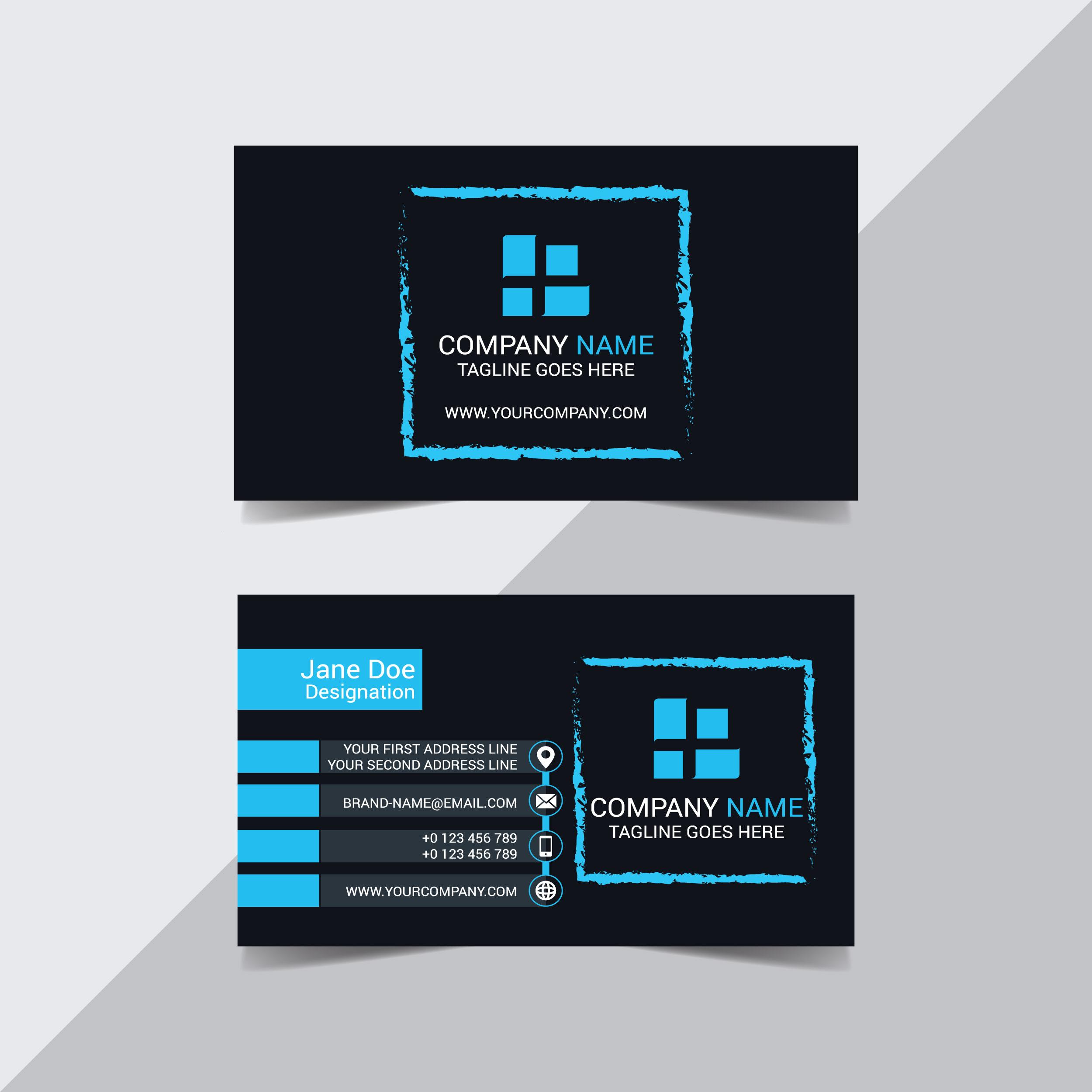 blauer Pinselstrich auf schwarzer Visitenkarte