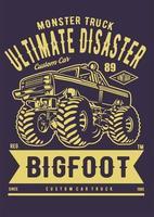 cartel de camión monstruo vector