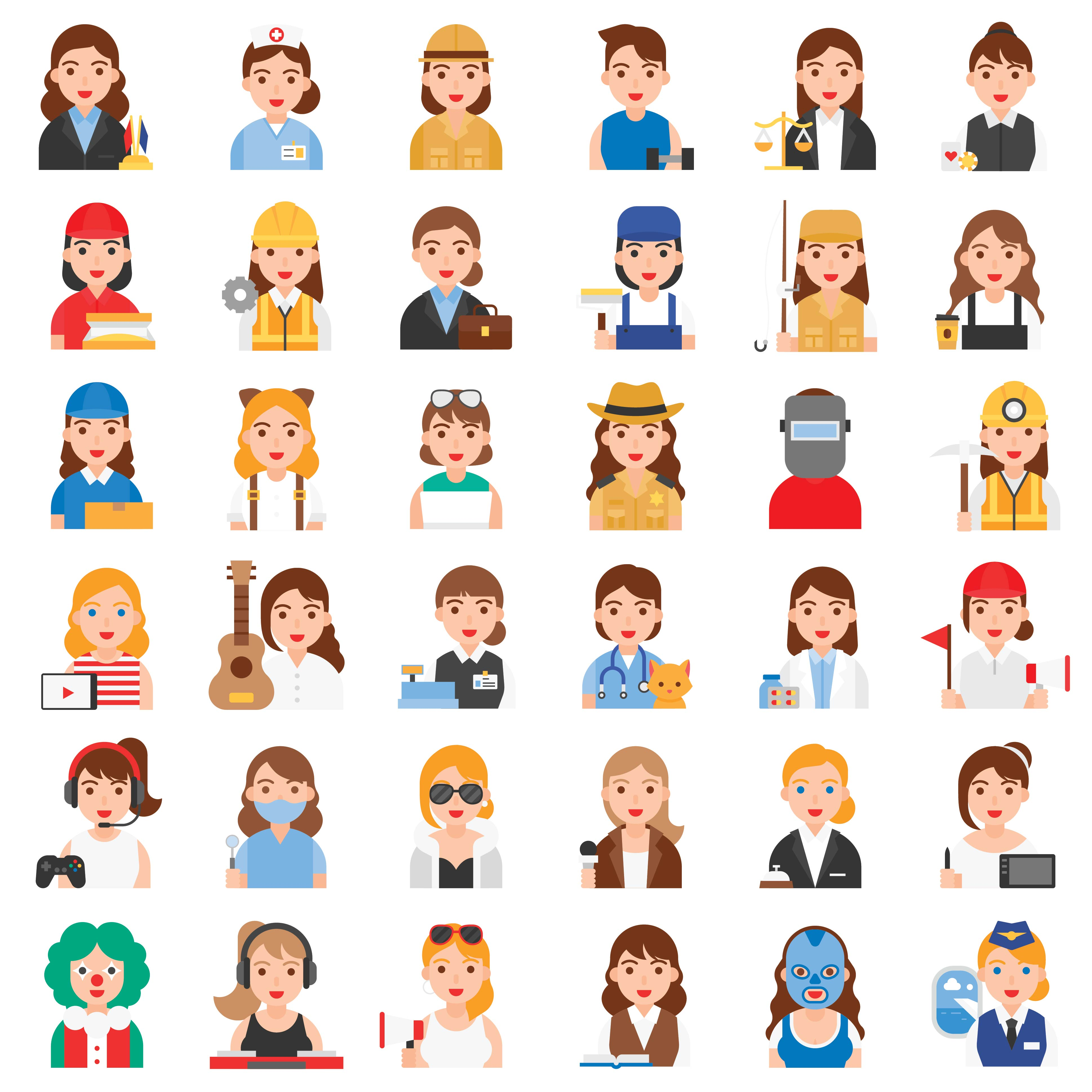 Female Profession and job related icon set