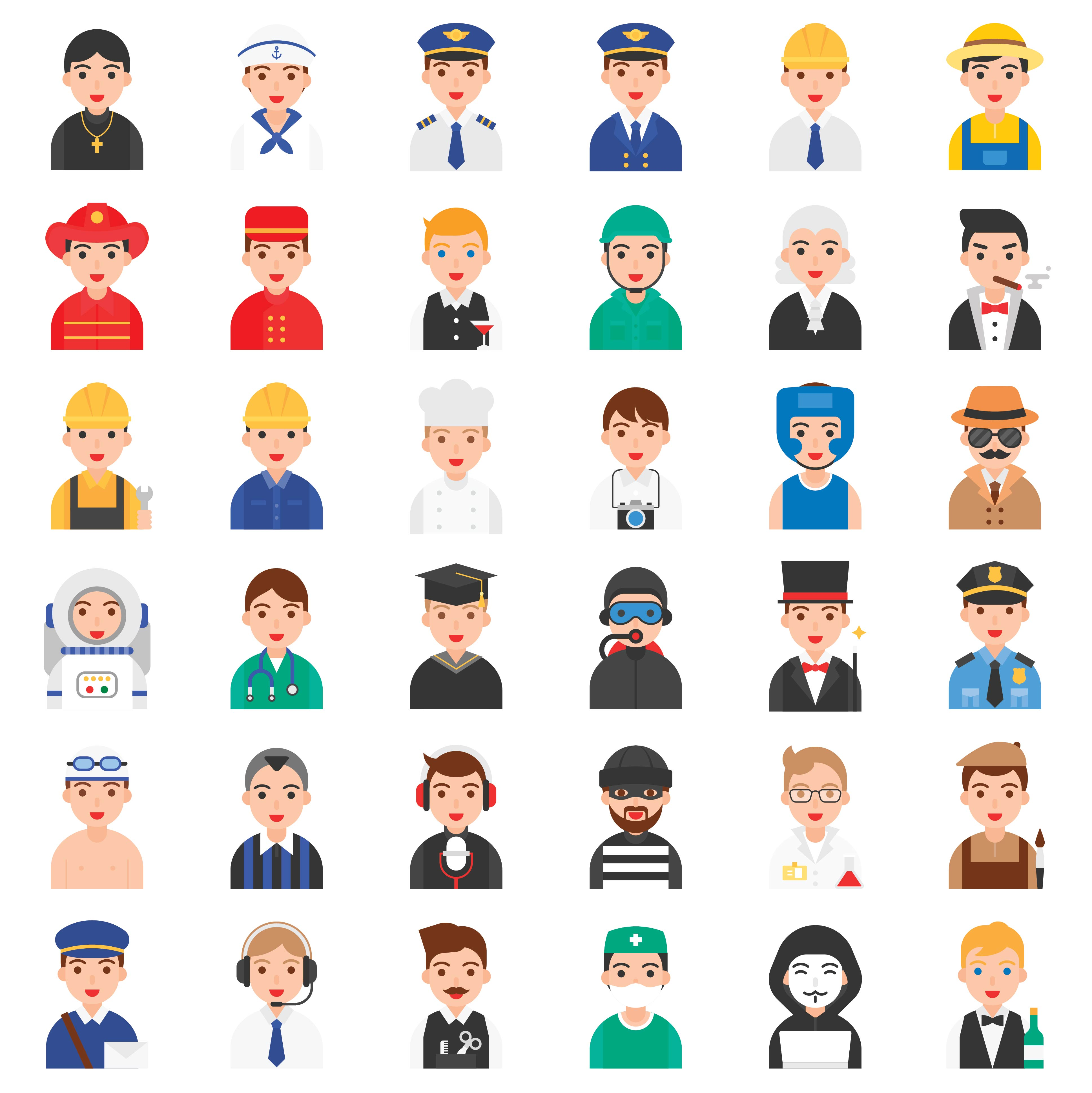 Male job related icon set