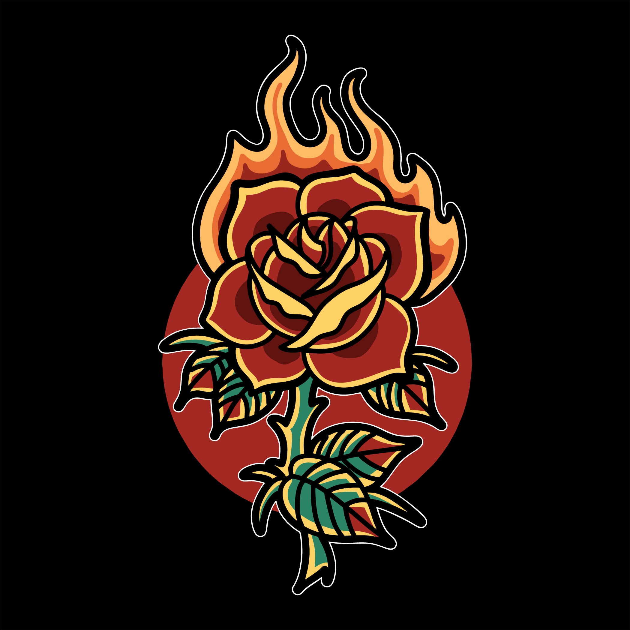 Burning rose tattoo