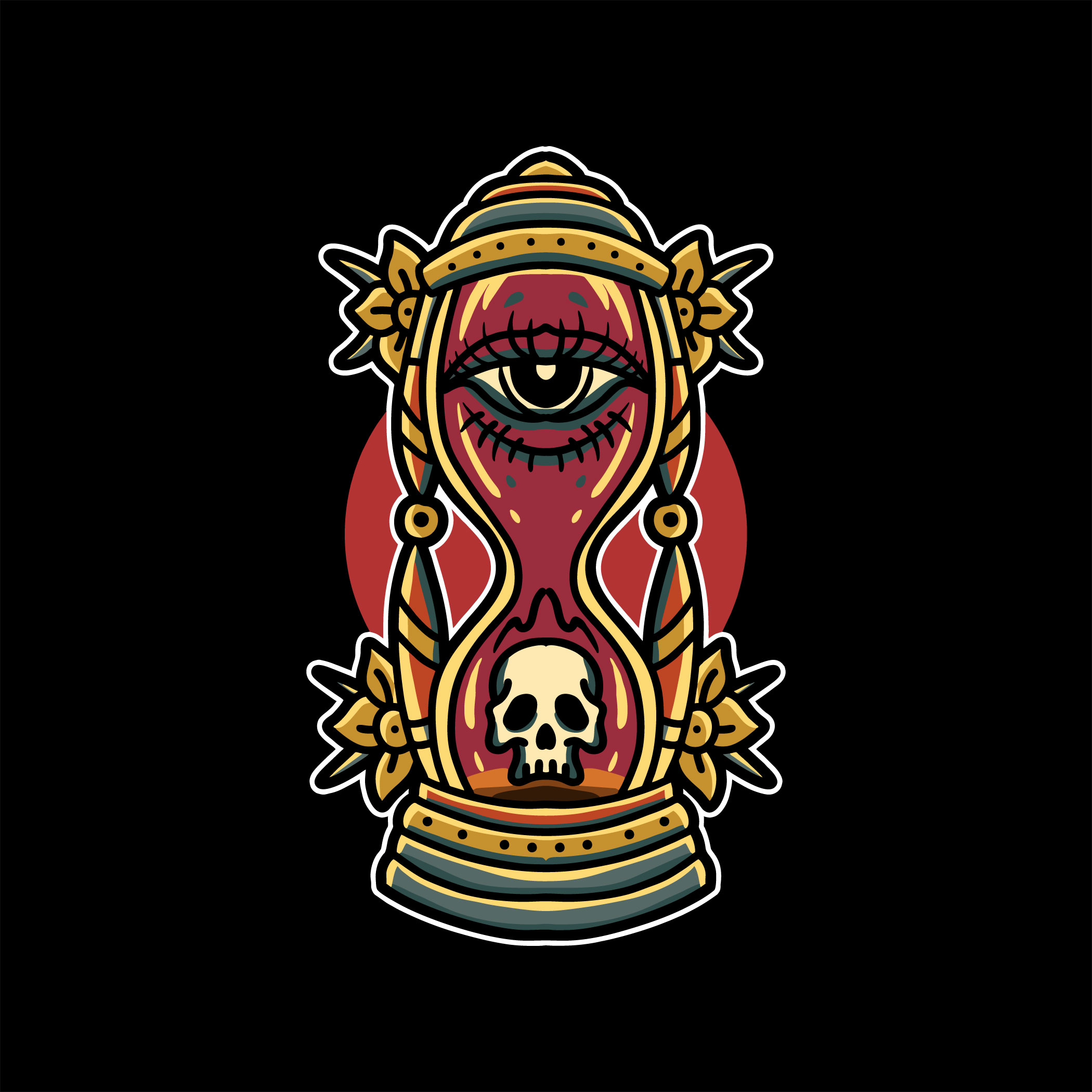 Colorful hourglass tattoo vector