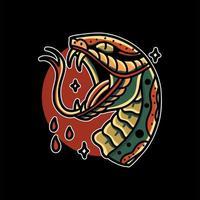 tatuaje de cabeza de serpiente vector
