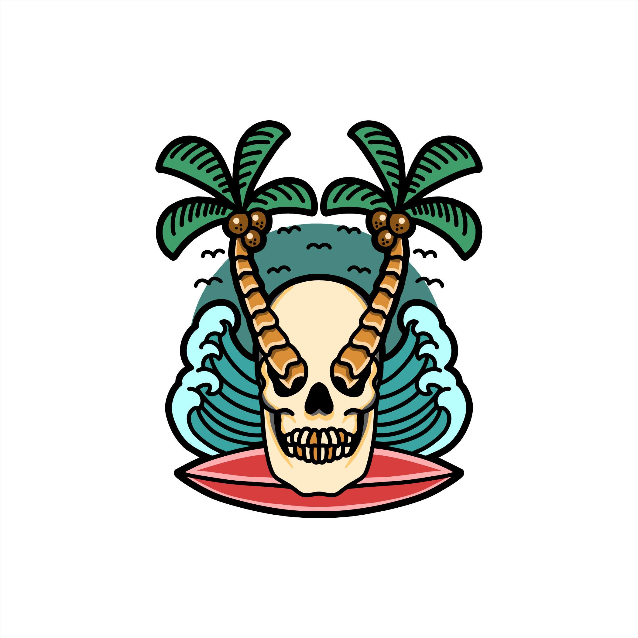 Tropical skull surfing tattoo