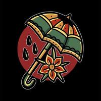 Umbrella and flower tattoo vector