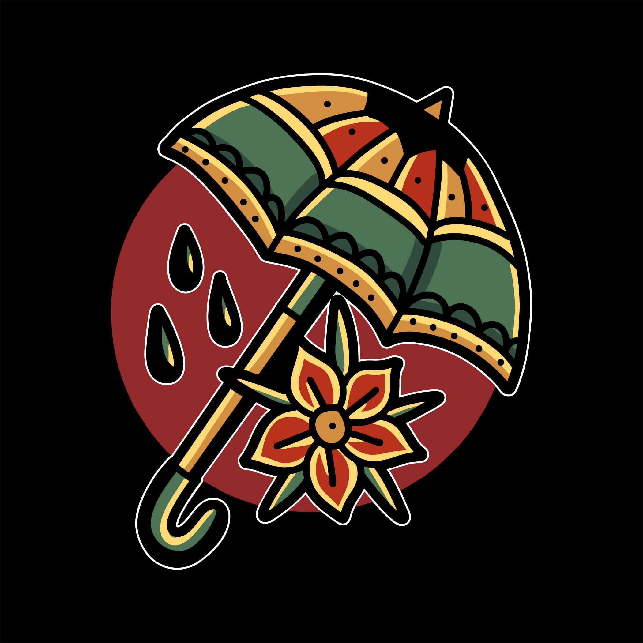 tatuaje de paraguas y flor