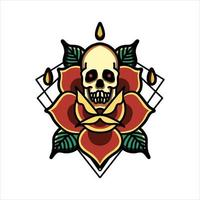 Skull and rose tattoo vector