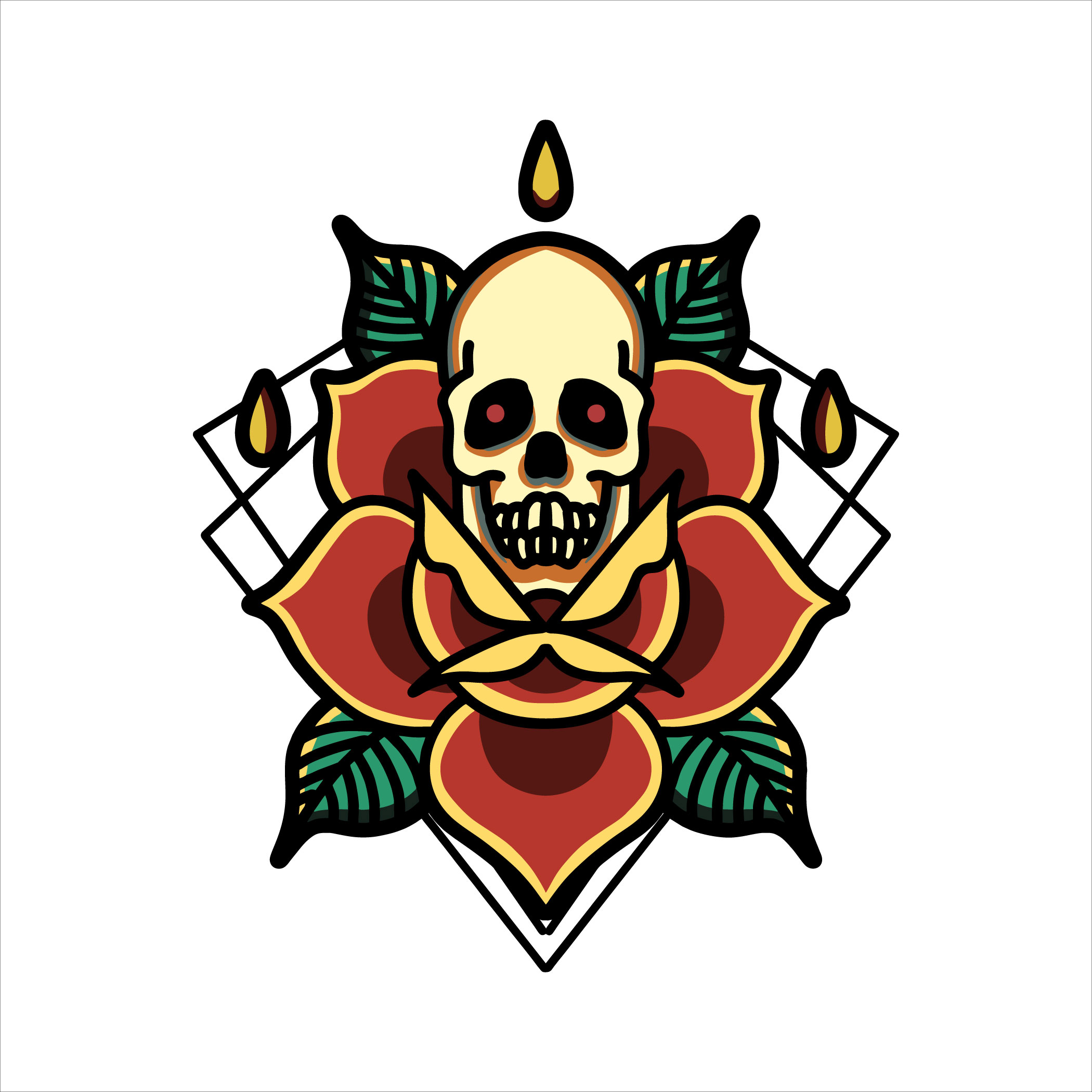 Skull and rose tattoo vector