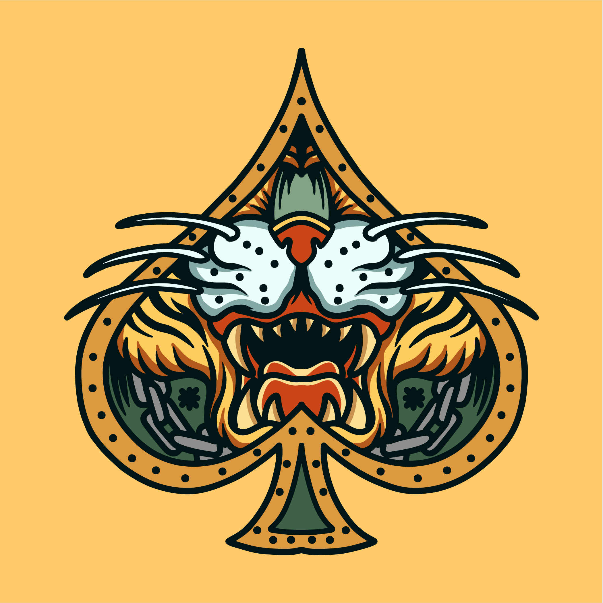 Tiger face in spade frame tattoo vector