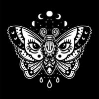 Nocturnal moth tattoo vector