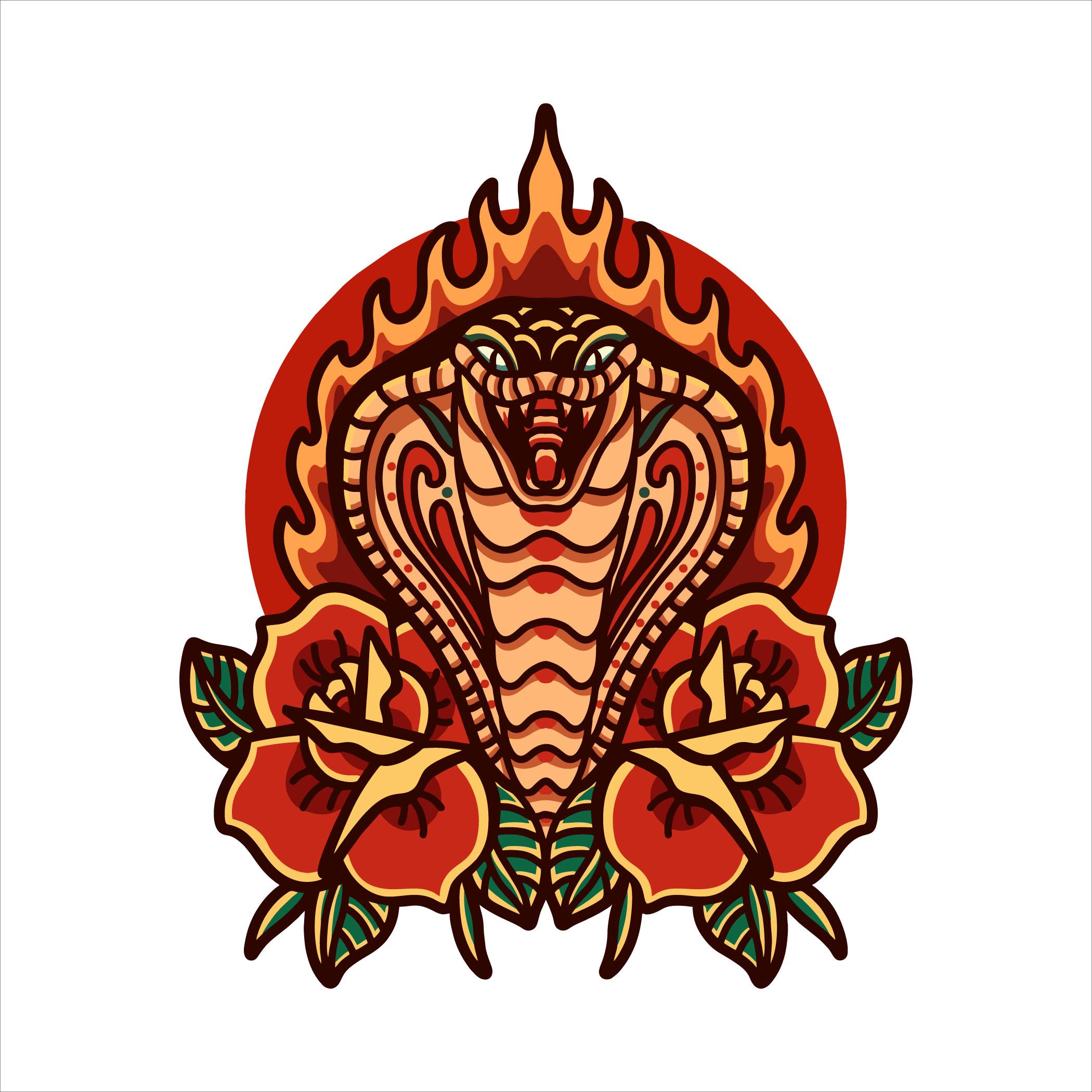 cobra con rosas tatuaje