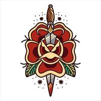 Rose and dagger tattoo vector