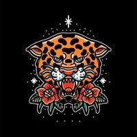 tatuaje de cabeza de leopardo vector