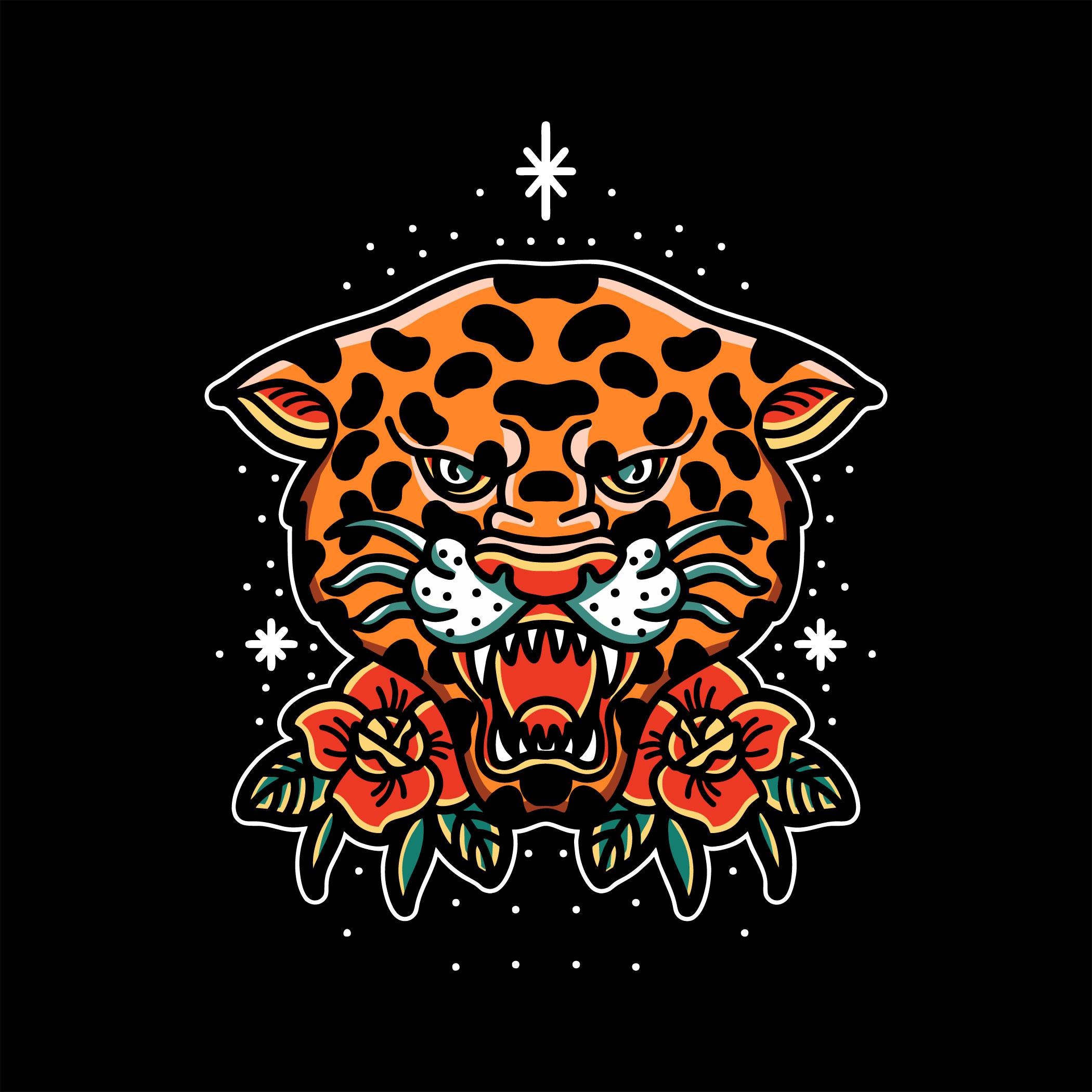 tatuaje de cabeza de leopardo