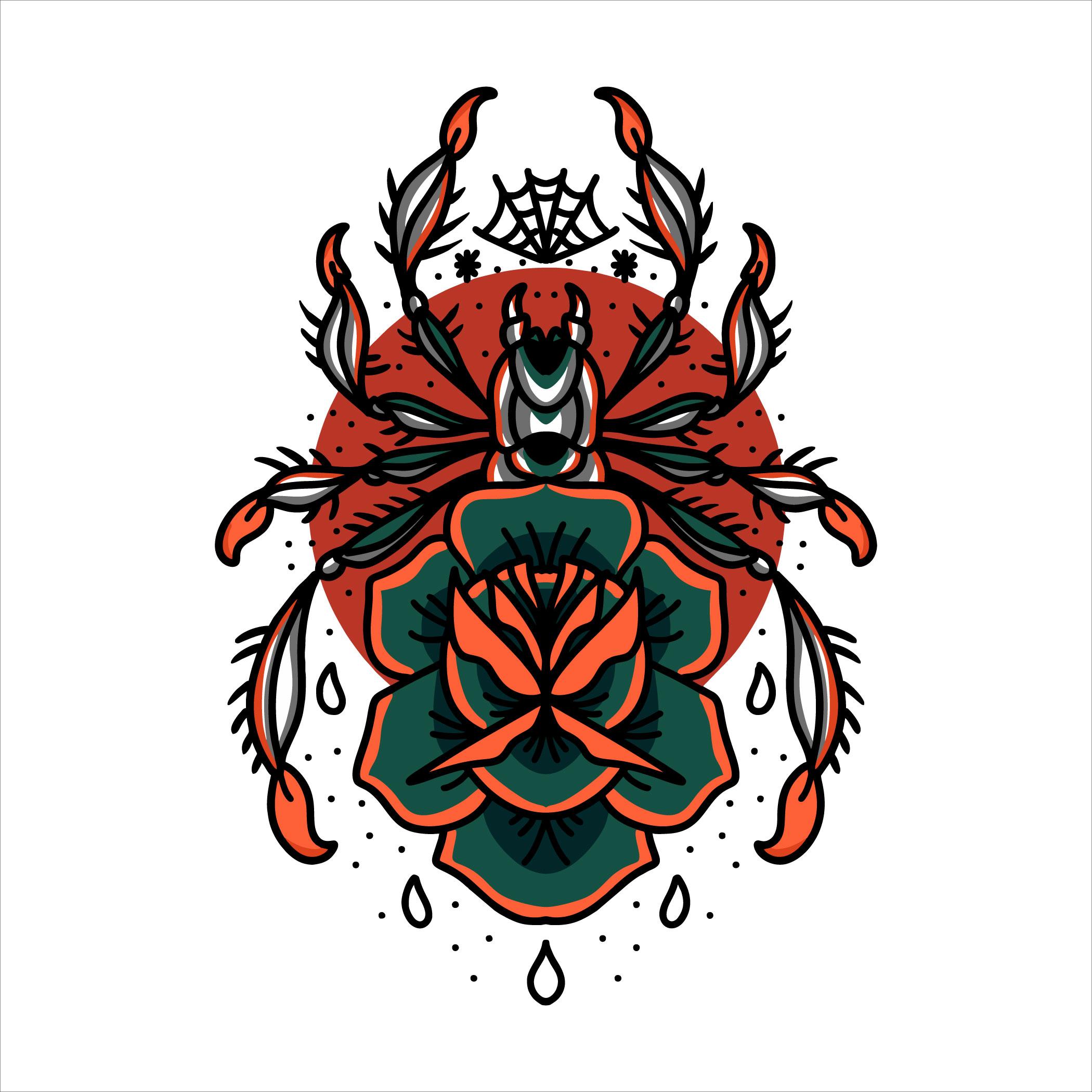 tatuaje de araña y rosa