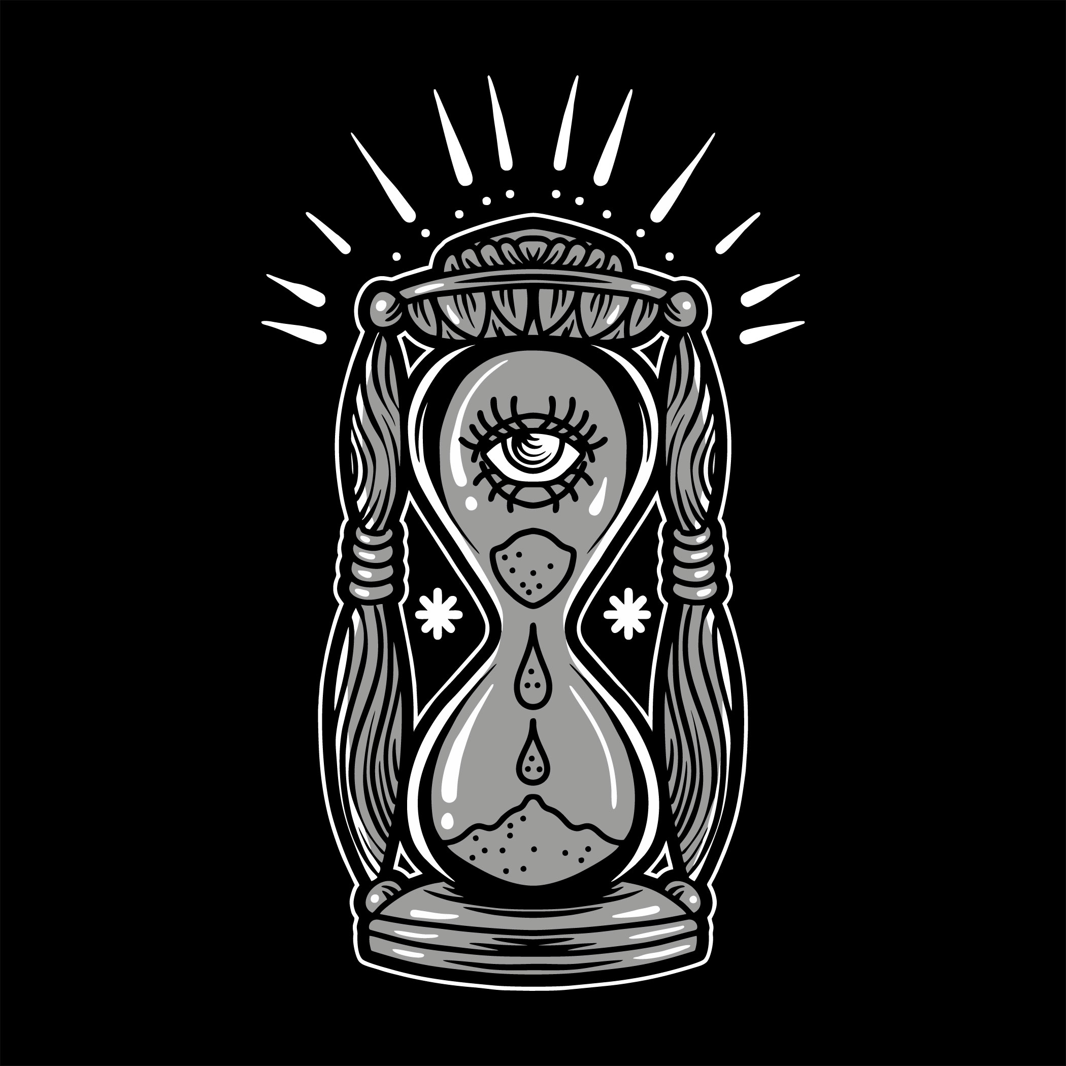 Black and grey hourglass tattoo vector