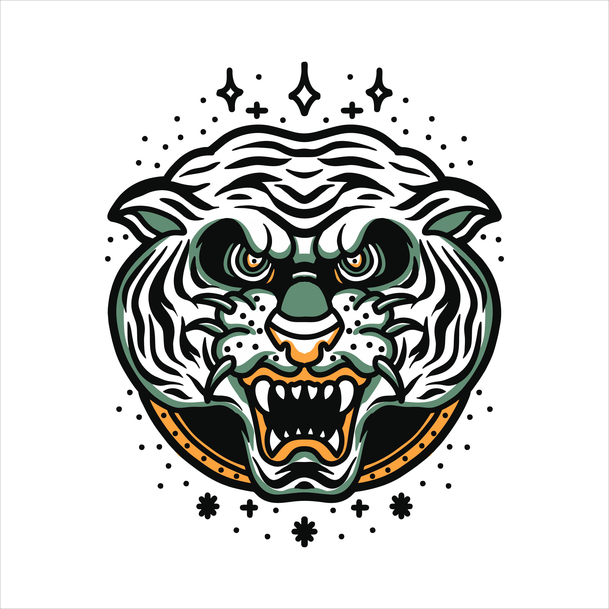 White tiger head tattoo vector
