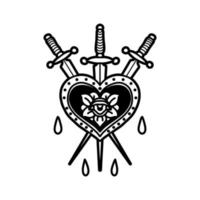Heart with swords tattoo  vector