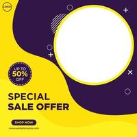 Purple and yellow fashion sale social media template vector