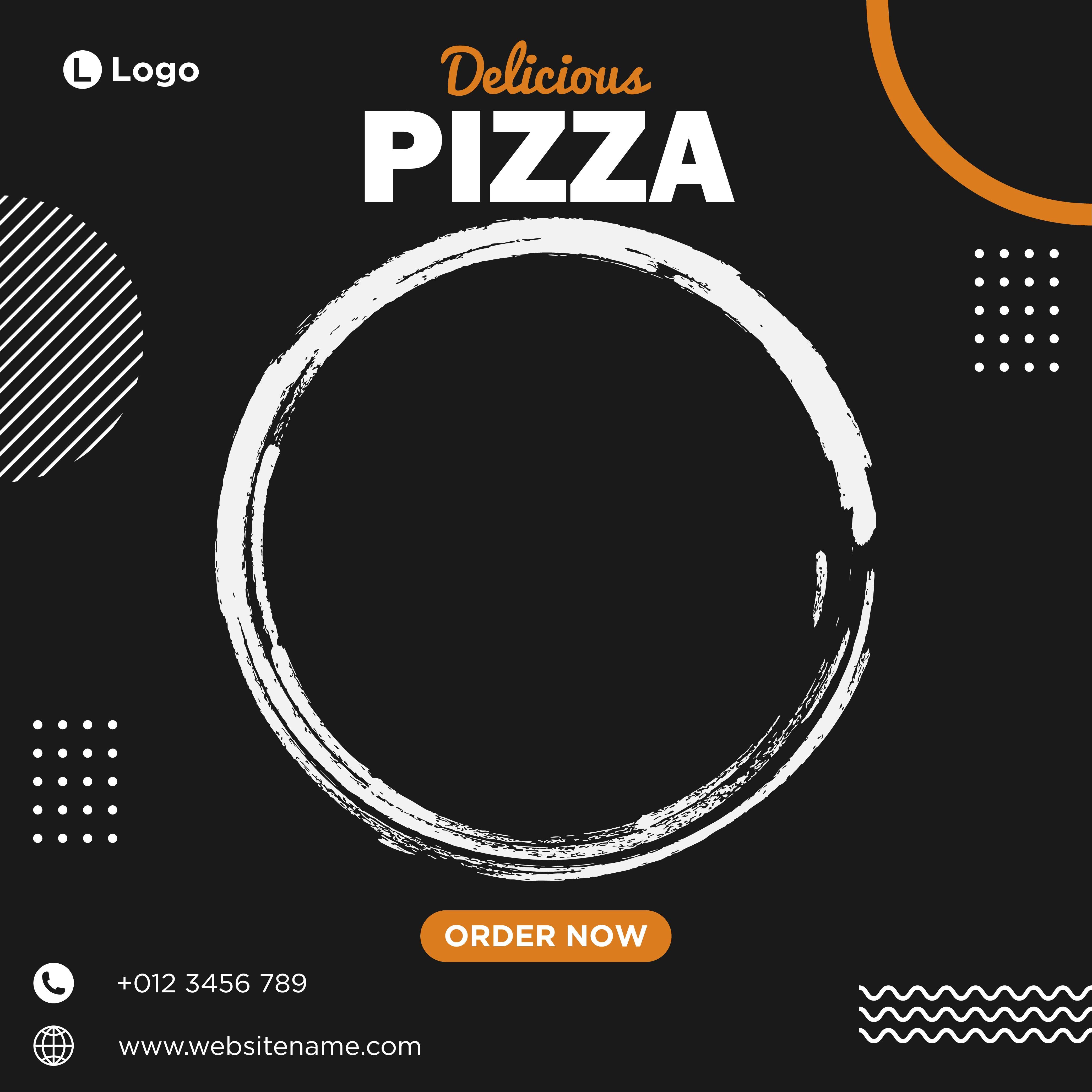 Black, white and orange delicious pizza social media template