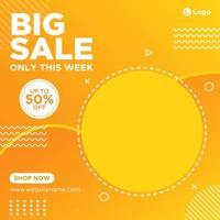 Orange gradient sale social media template vector
