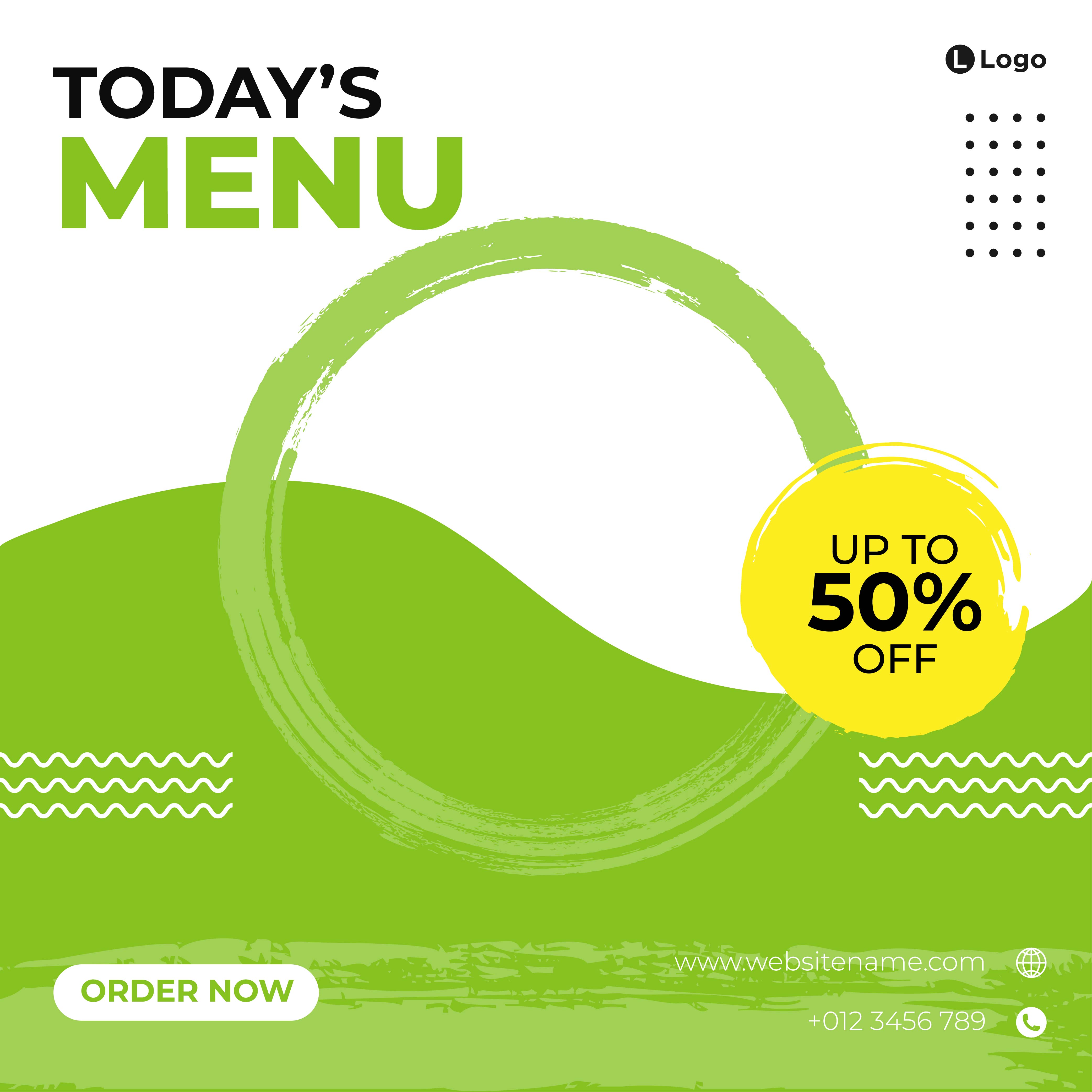 White and green brush stroke food social media template vector