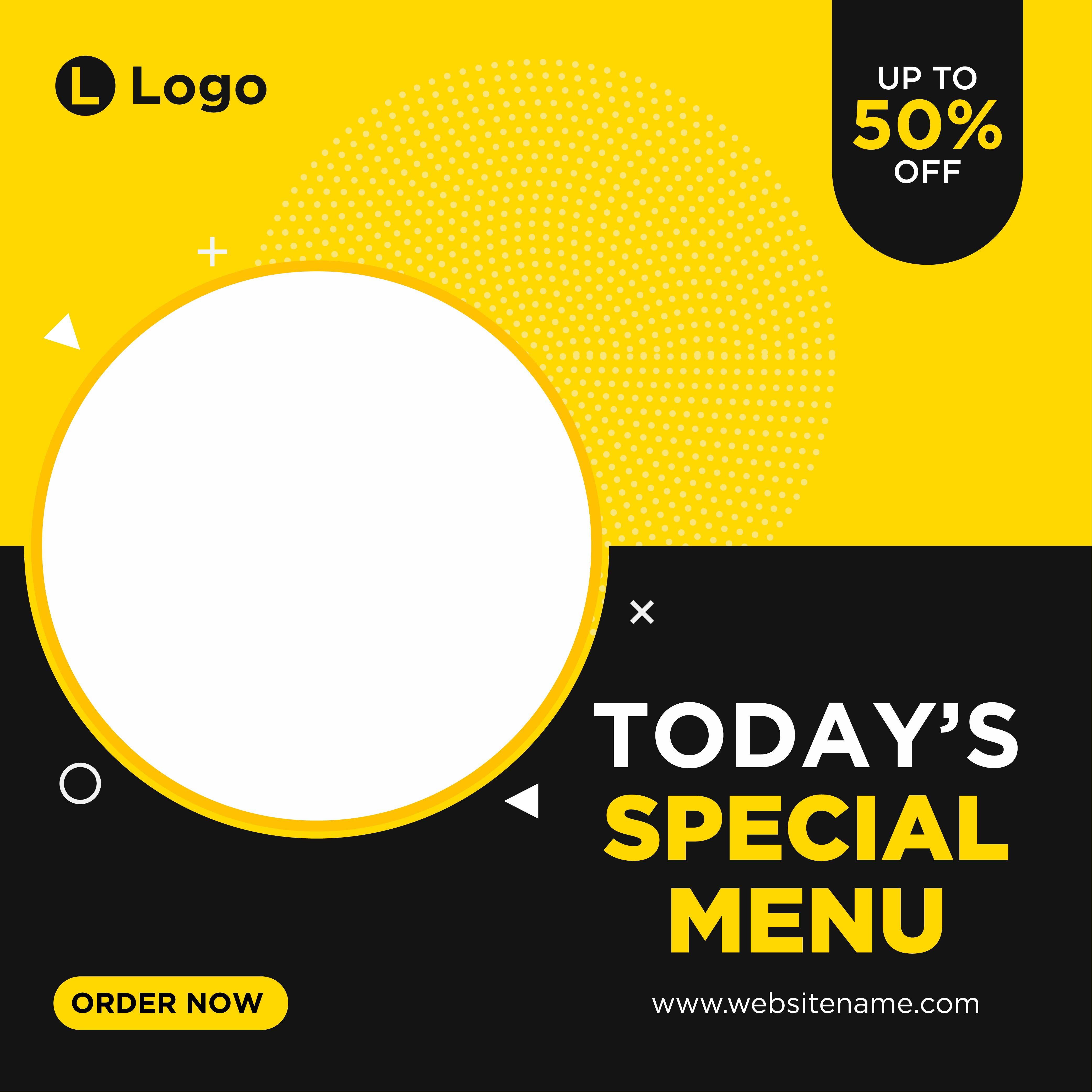 Yellow and black special menu social media template