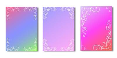 Bright gradient cover set with floral ornamental borders vector