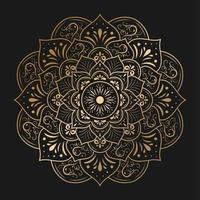 Circular gold mandala with vintage floral style vector