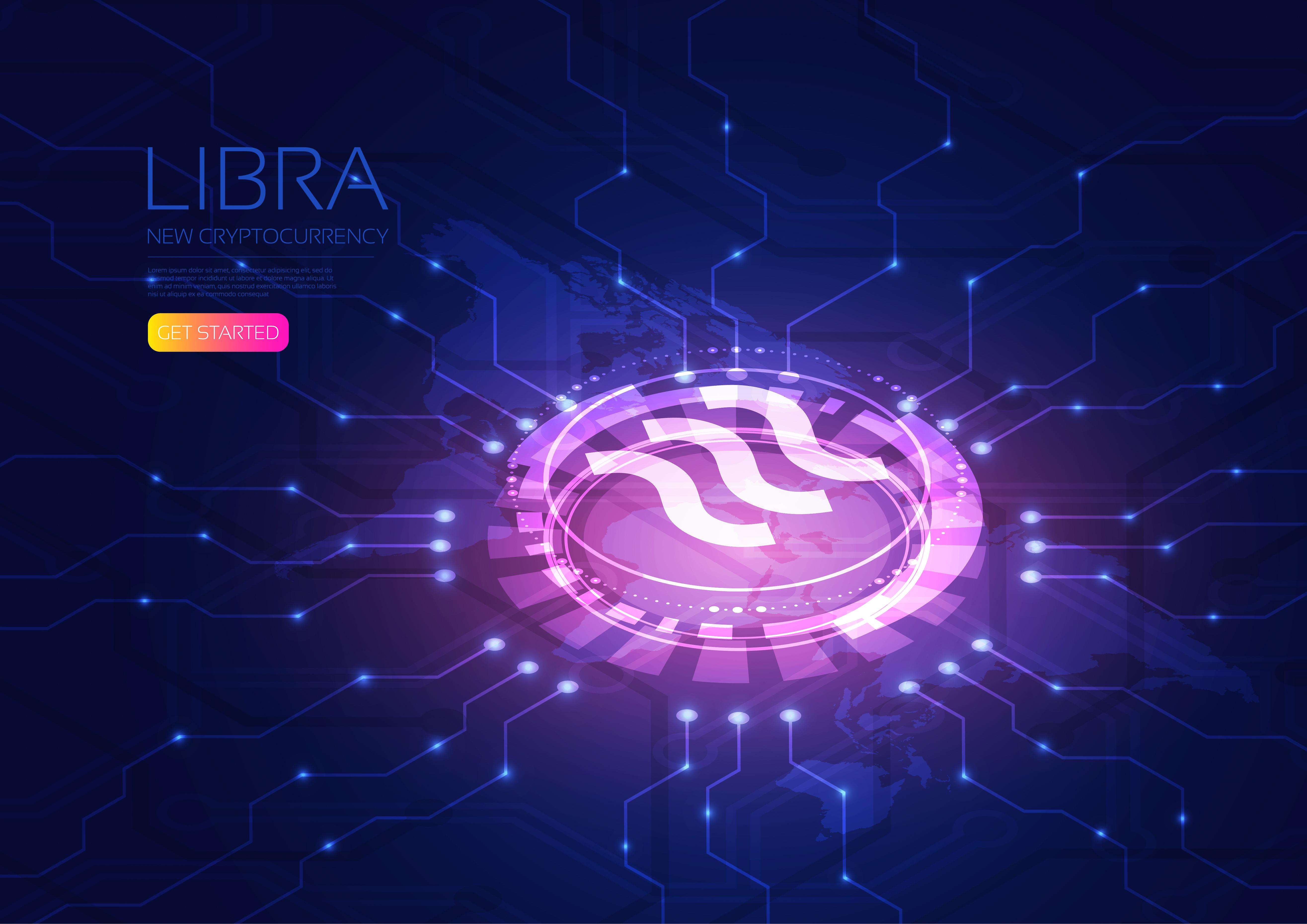 Isometric Libra on circuit board design vector