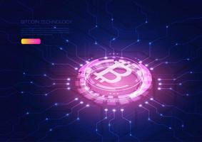 Isometric bitcoin hologram design vector