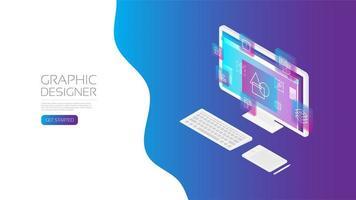 Isometric designer workspace concept vector