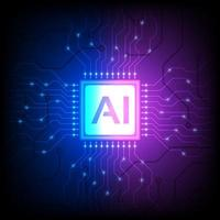 AI processor chip on blue purple gradient vector