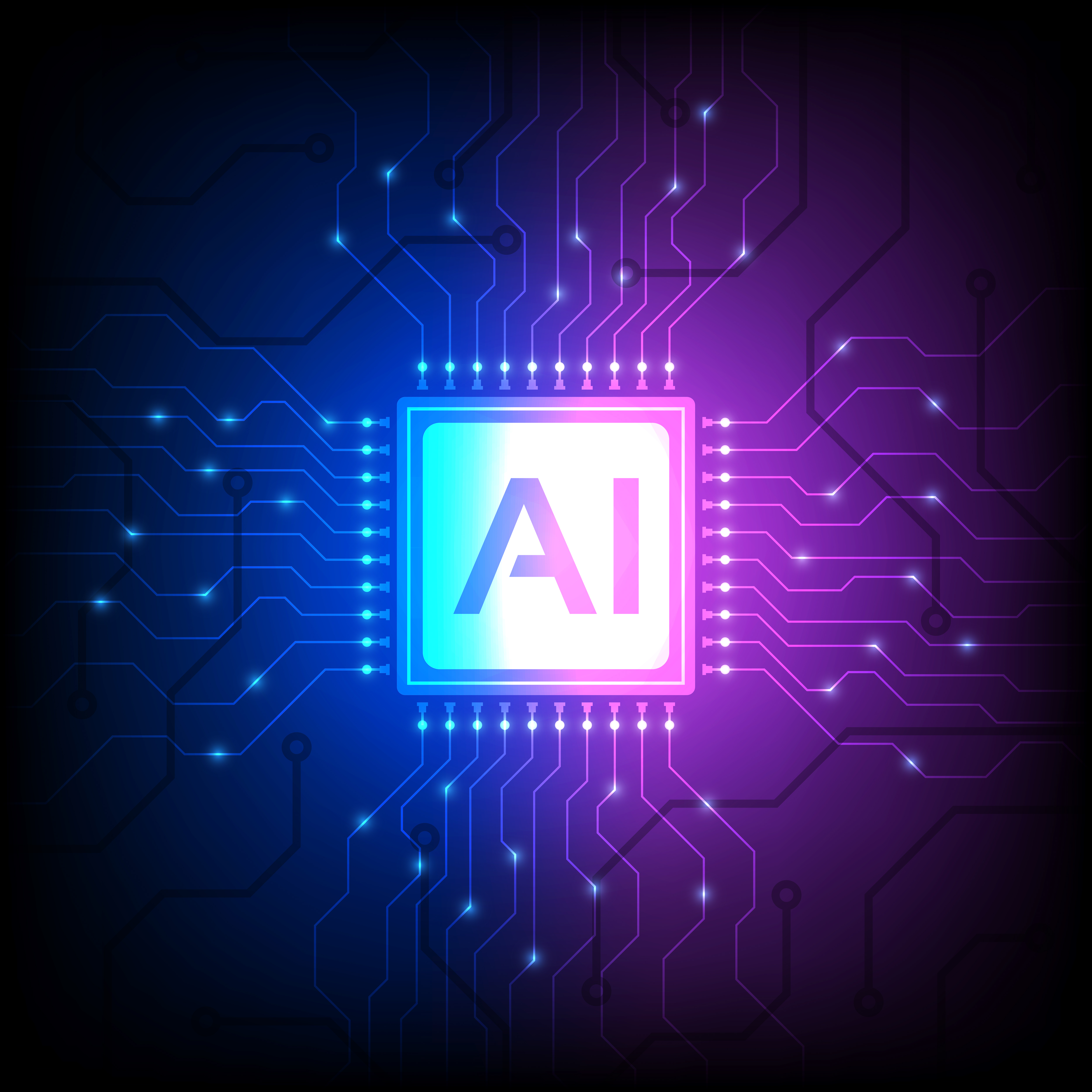 AI processor chip on blue purple gradient vector