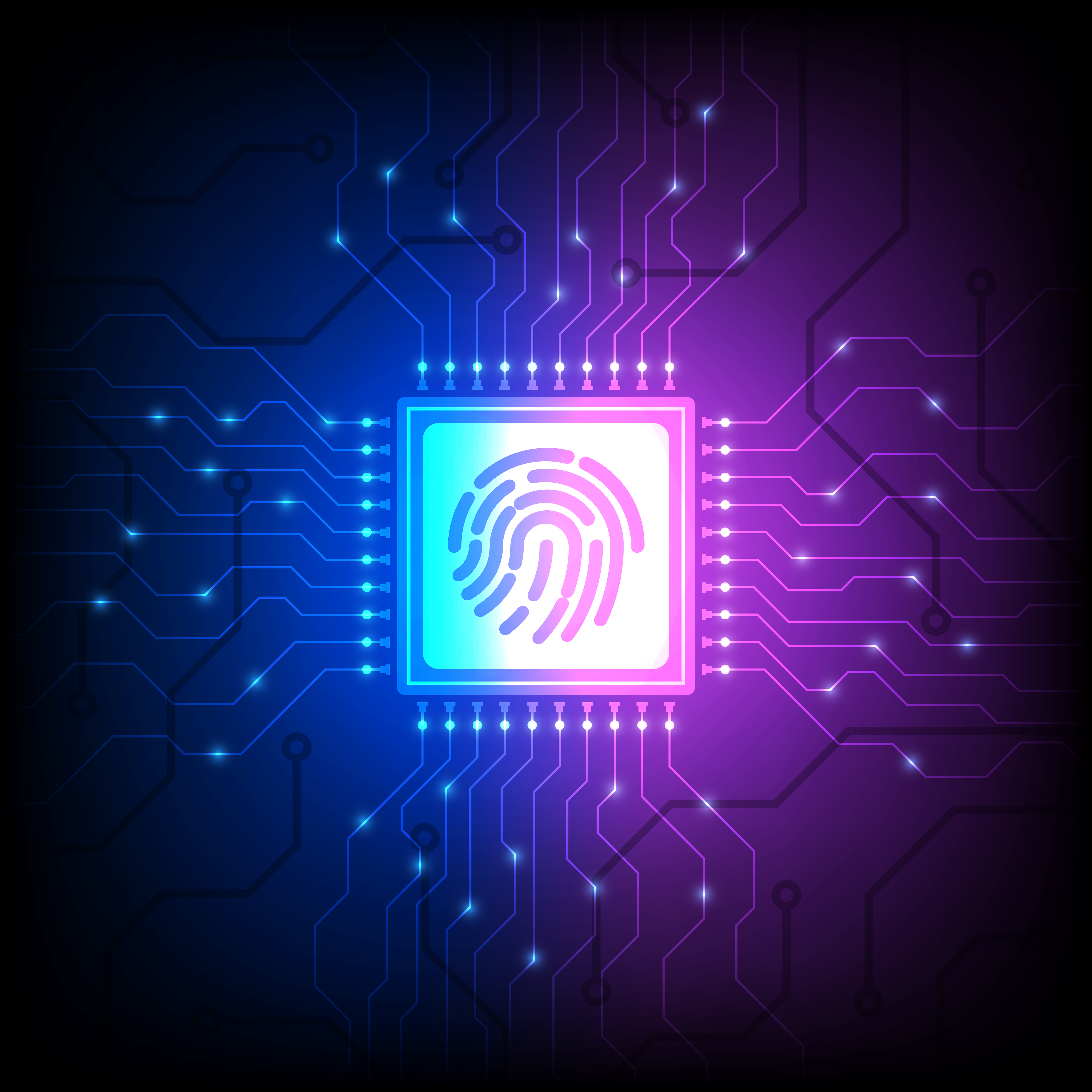 Hologram identity chip on blue and purple gradient vector