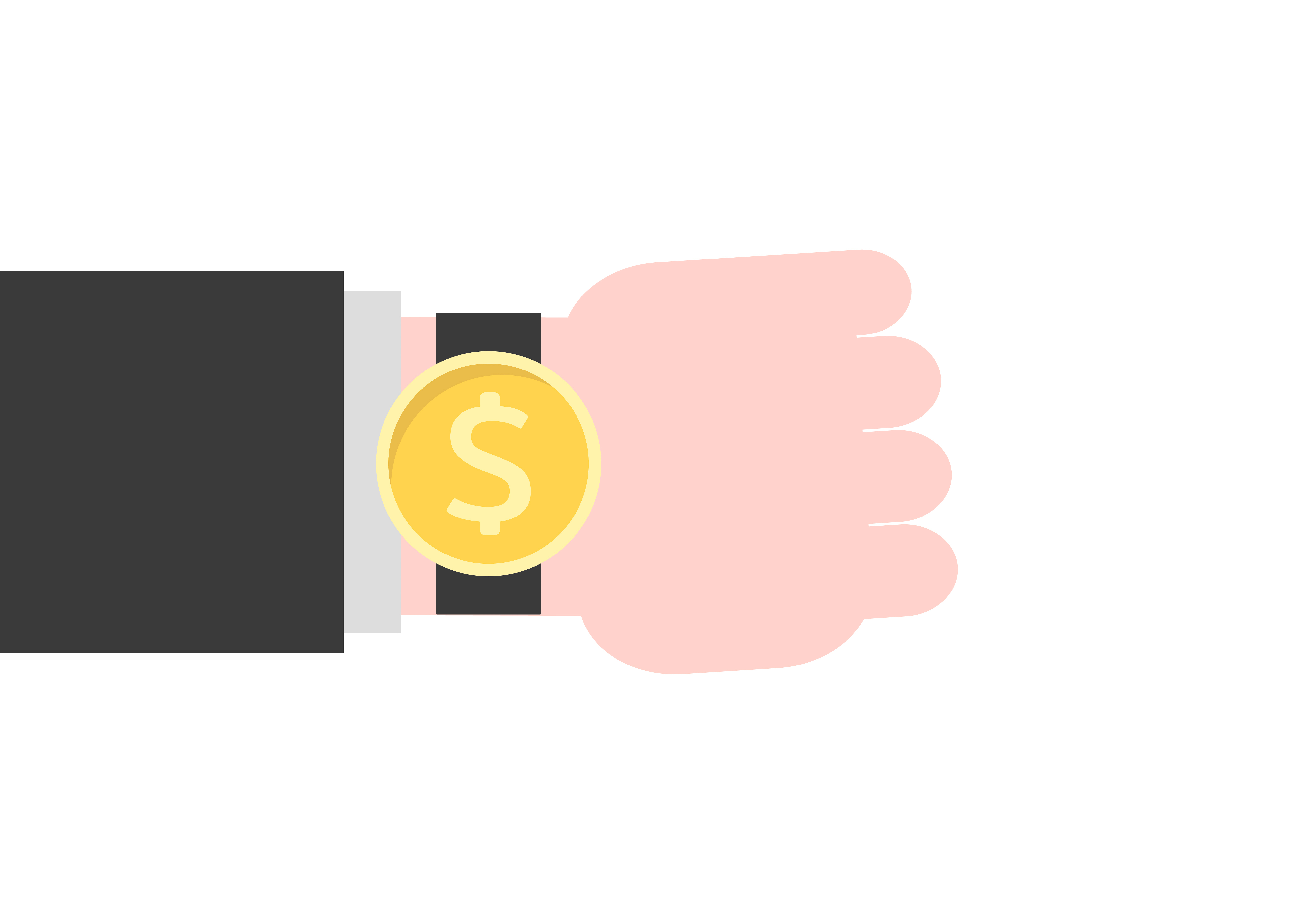 Time is money concept with watch on hand vector