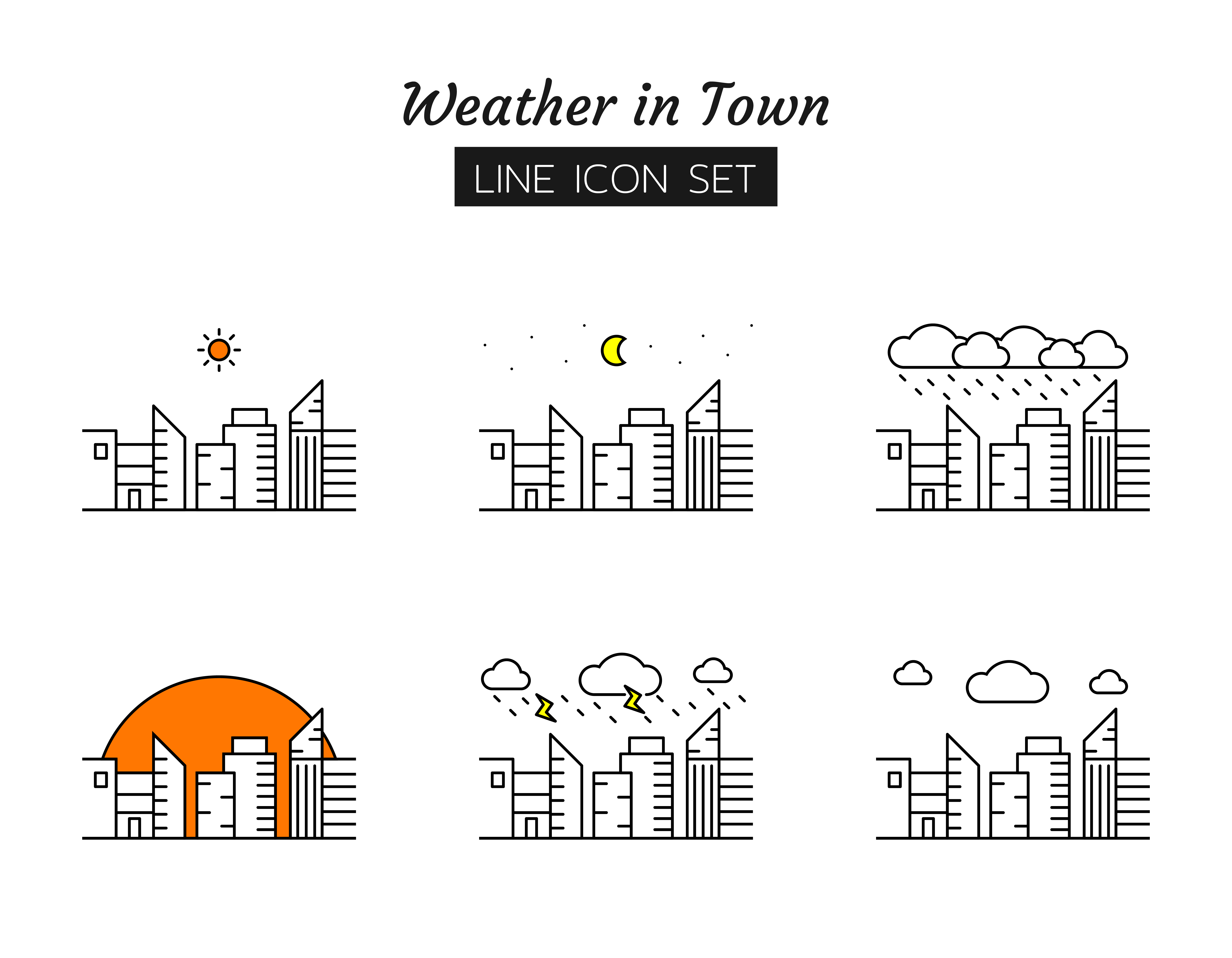 Town weather line icon symbol set